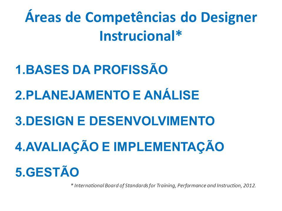 Áreas de Competências do Designer Instrucional* 1.BASES DA PROFISSÃO 2.PLANEJAMENTO E ANÁLISE 3.DESIGN E DESENVOLVIMENTO 4.AVALIAÇÃO E IMPLEMENTAÇÃO 5