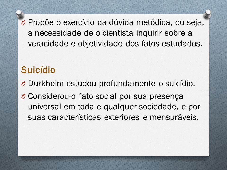 O Propõe o exercício da dúvida metódica, ou seja, a necessidade de o cientista inquirir sobre a veracidade e objetividade dos fatos estudados. Suicídi