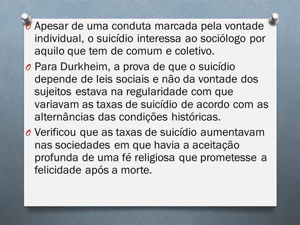 O Apesar de uma conduta marcada pela vontade individual, o suicídio interessa ao sociólogo por aquilo que tem de comum e coletivo. O Para Durkheim, a
