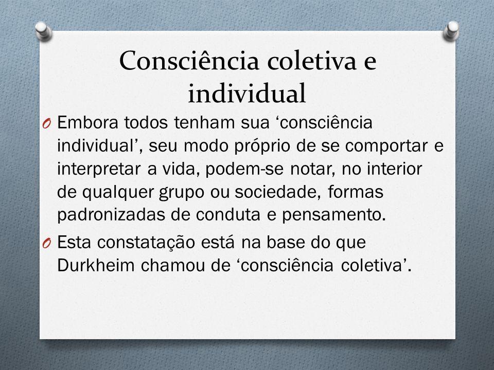 Consciência coletiva e individual O Embora todos tenham sua consciência individual, seu modo próprio de se comportar e interpretar a vida, podem-se notar, no interior de qualquer grupo ou sociedade, formas padronizadas de conduta e pensamento.