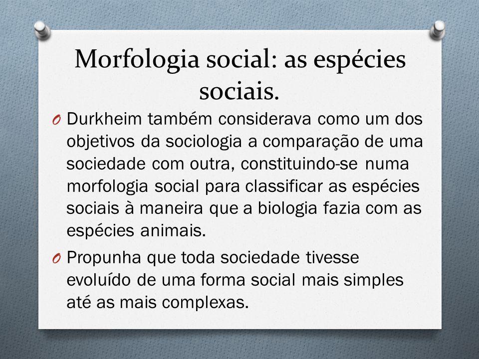 Morfologia social: as espécies sociais. O Durkheim também considerava como um dos objetivos da sociologia a comparação de uma sociedade com outra, con