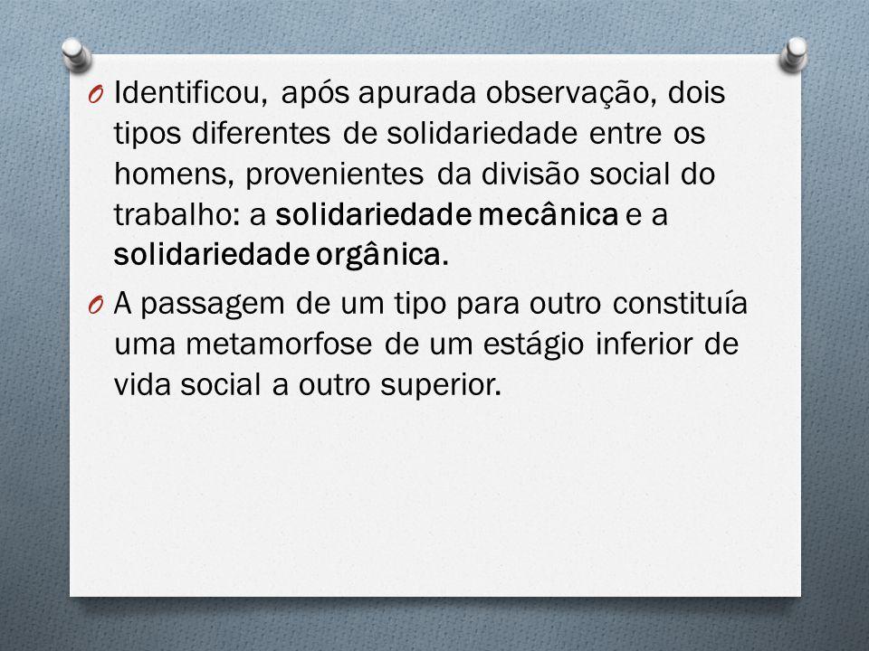 O Identificou, após apurada observação, dois tipos diferentes de solidariedade entre os homens, provenientes da divisão social do trabalho: a solidari
