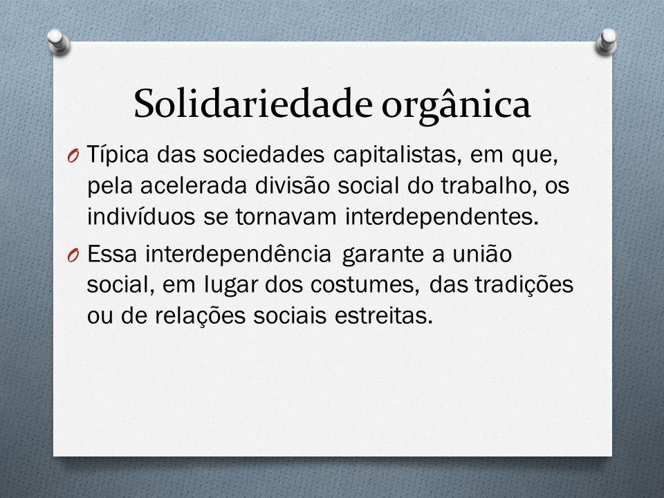 Solidariedade orgânica O Típica das sociedades capitalistas, em que, pela acelerada divisão social do trabalho, os indivíduos se tornavam interdepende