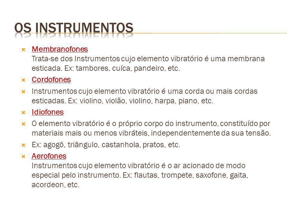 Membranofones Trata-se dos Instrumentos cujo elemento vibratório é uma membrana esticada. Ex: tambores, cuíca, pandeiro, etc. Membranofones Cordofones