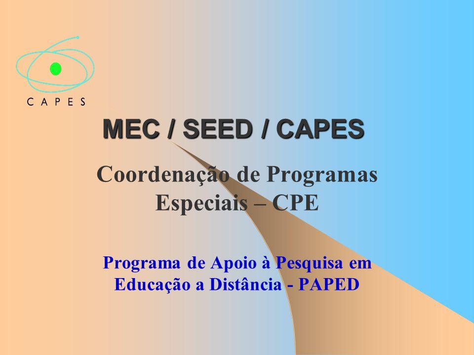 MEC / SEED / CAPES Coordenação de Programas Especiais – CPE Programa de Apoio à Pesquisa em Educação a Distância - PAPED