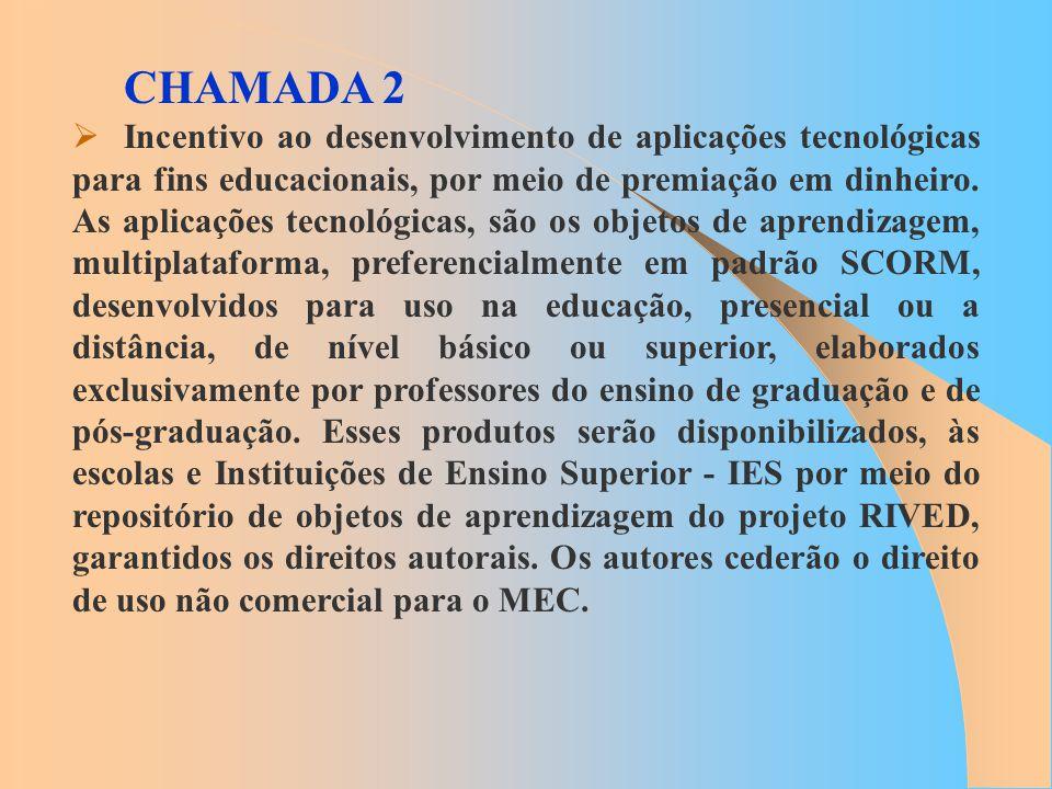 CHAMADA 2 Incentivo ao desenvolvimento de aplicações tecnológicas para fins educacionais, por meio de premiação em dinheiro. As aplicações tecnológica