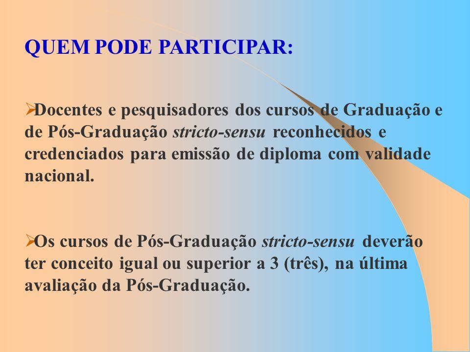 QUEM PODE PARTICIPAR: Docentes e pesquisadores dos cursos de Graduação e de Pós-Graduação stricto-sensu reconhecidos e credenciados para emissão de di