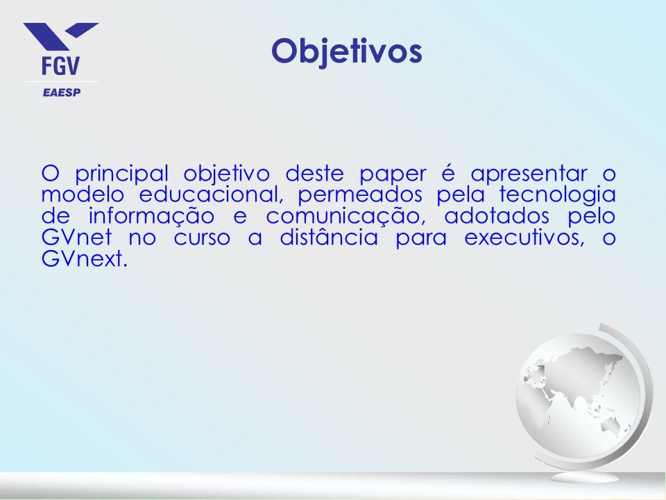 O principal objetivo deste paper é apresentar o modelo educacional, permeados pela tecnologia de informação e comunicação, adotados pelo GVnet no curso a distância para executivos, o GVnext.