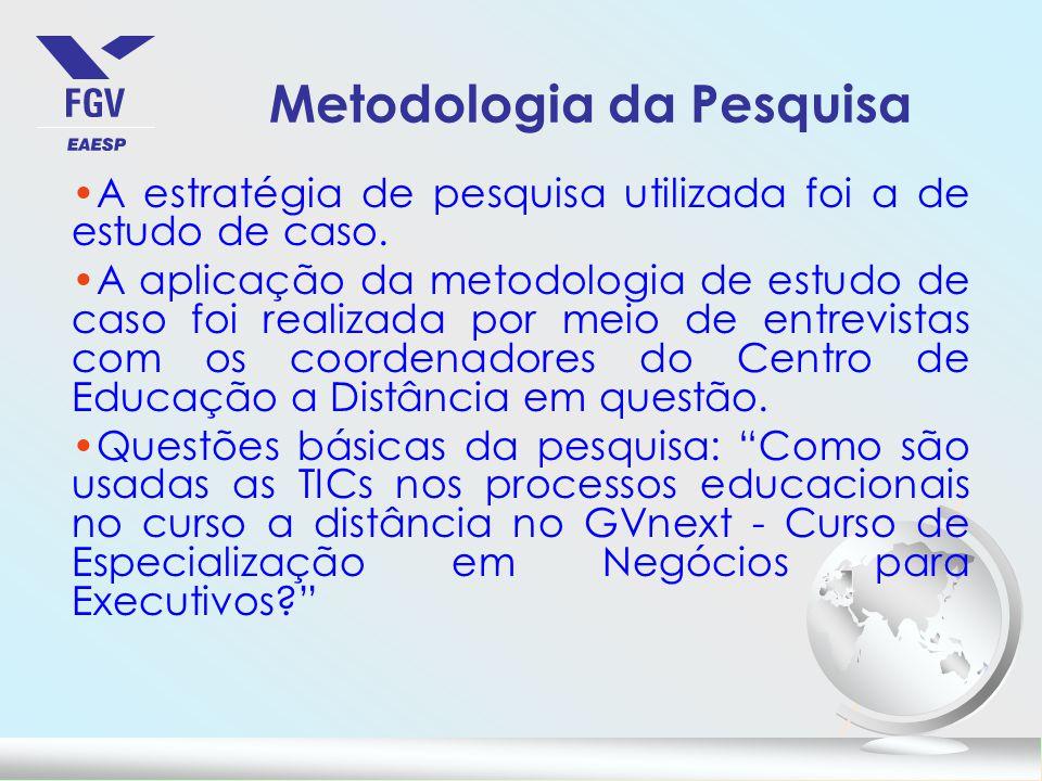 Metodologia da Pesquisa A estratégia de pesquisa utilizada foi a de estudo de caso.
