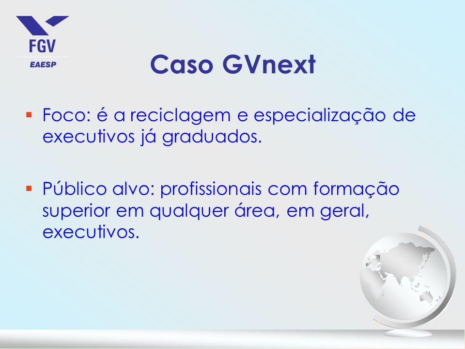 Caso GVnext §Foco: é a reciclagem e especialização de executivos já graduados.