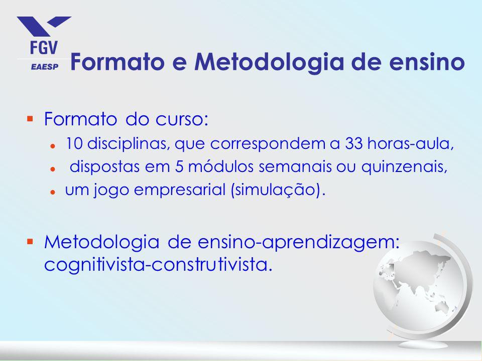 Formato e Metodologia de ensino §Formato do curso: l 10 disciplinas, que correspondem a 33 horas-aula, l dispostas em 5 módulos semanais ou quinzenais, l um jogo empresarial (simulação).