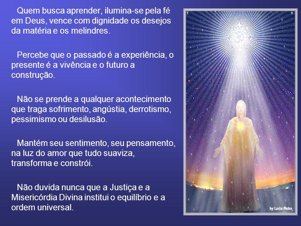 Quem busca aprender, ilumina-se pela fé em Deus, vence com dignidade os desejos da matéria e os melindres. Percebe que o passado é a experiência, o pr