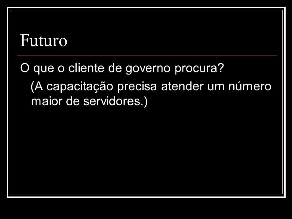 Futuro O que o cliente de governo procura? (A capacitação precisa atender um número maior de servidores.)