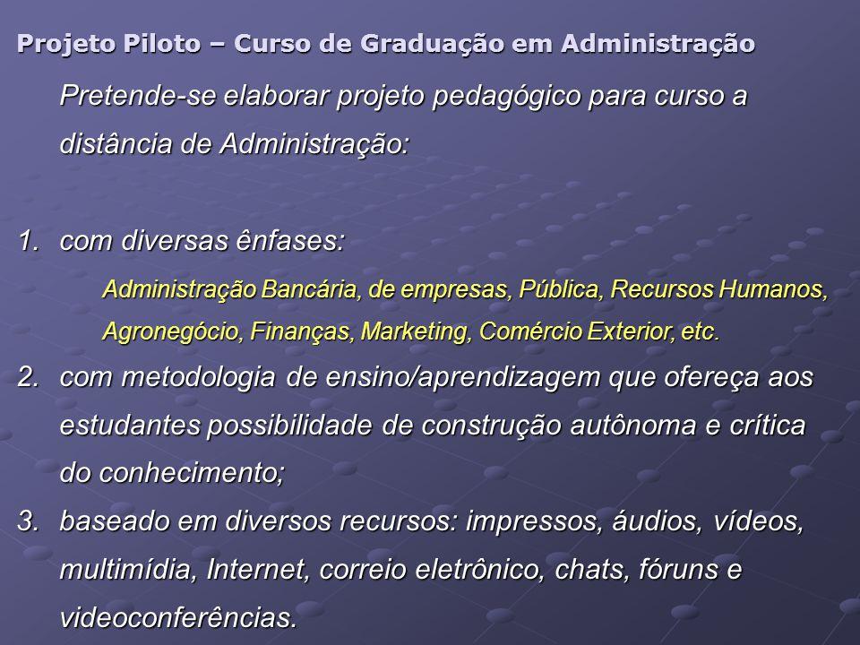 Projeto Piloto – Curso de Graduação em Administração Pretende-se elaborar projeto pedagógico para curso a distância de Administração: 1.com diversas ê
