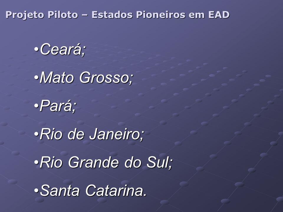 Projeto Piloto – Estados Pioneiros em EAD Ceará;Ceará; Mato Grosso;Mato Grosso; Pará;Pará; Rio de Janeiro;Rio de Janeiro; Rio Grande do Sul;Rio Grande