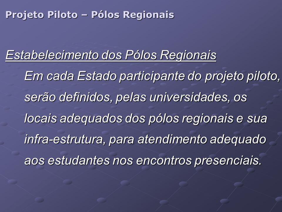 Projeto Piloto – Pólos Regionais Estabelecimento dos Pólos Regionais Em cada Estado participante do projeto piloto, serão definidos, pelas universidad