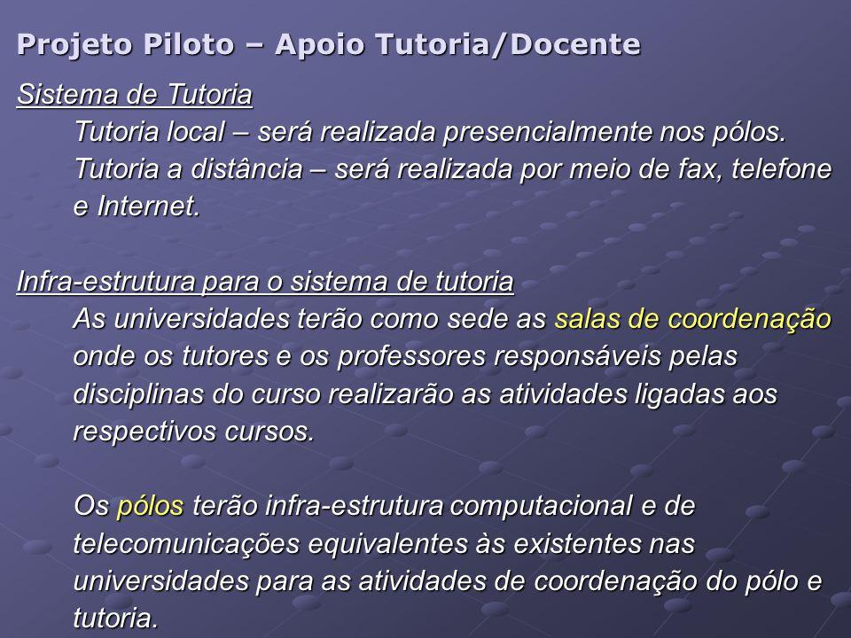 Projeto Piloto – Apoio Tutoria/Docente Sistema de Tutoria Tutoria local – será realizada presencialmente nos pólos. Tutoria a distância – será realiza