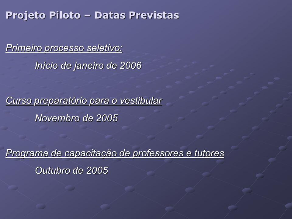 Projeto Piloto – Datas Previstas Primeiro processo seletivo: Início de janeiro de 2006 Curso preparatório para o vestibular Novembro de 2005 Programa