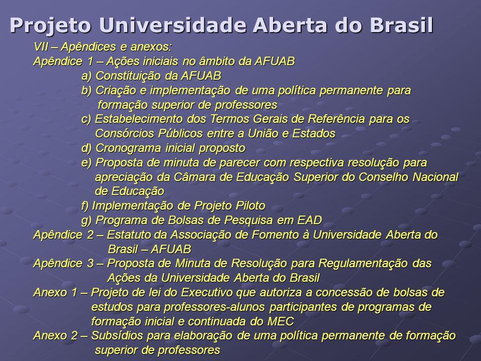 Projeto Universidade Aberta do Brasil VII – Apêndices e anexos: Apêndice 1 – Ações iniciais no âmbito da AFUAB a) Constituição da AFUAB b) Criação e i