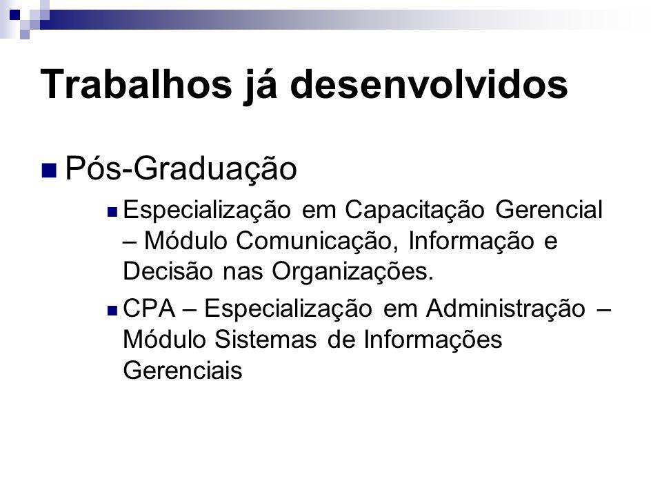 Trabalhos já desenvolvidos Pós-Graduação Especialização em Capacitação Gerencial – Módulo Comunicação, Informação e Decisão nas Organizações.