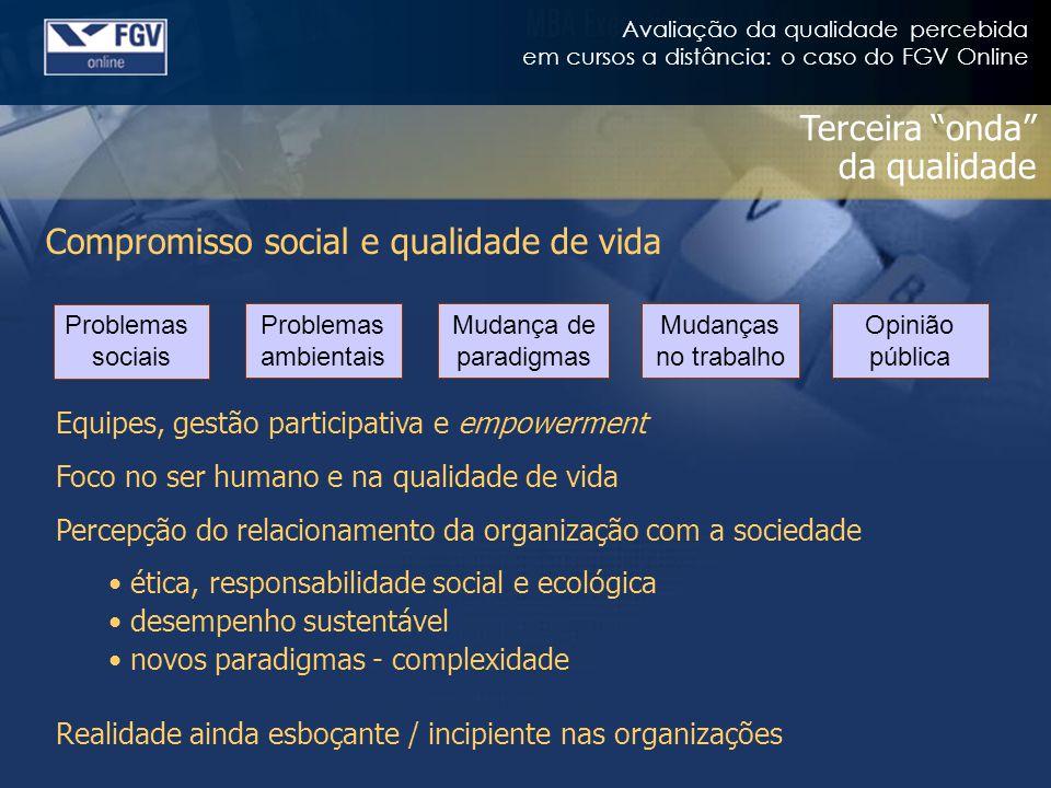Avaliação da qualidade percebida em cursos a distância: o caso do FGV Online Terceira onda da qualidade Compromisso social e qualidade de vida Equipes