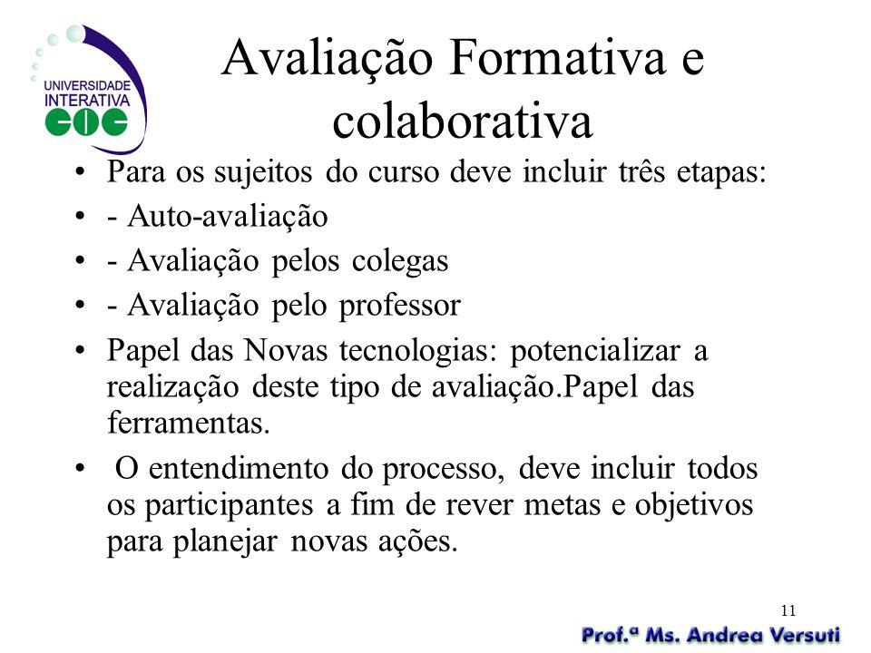 11 Avaliação Formativa e colaborativa Para os sujeitos do curso deve incluir três etapas: - Auto-avaliação - Avaliação pelos colegas - Avaliação pelo