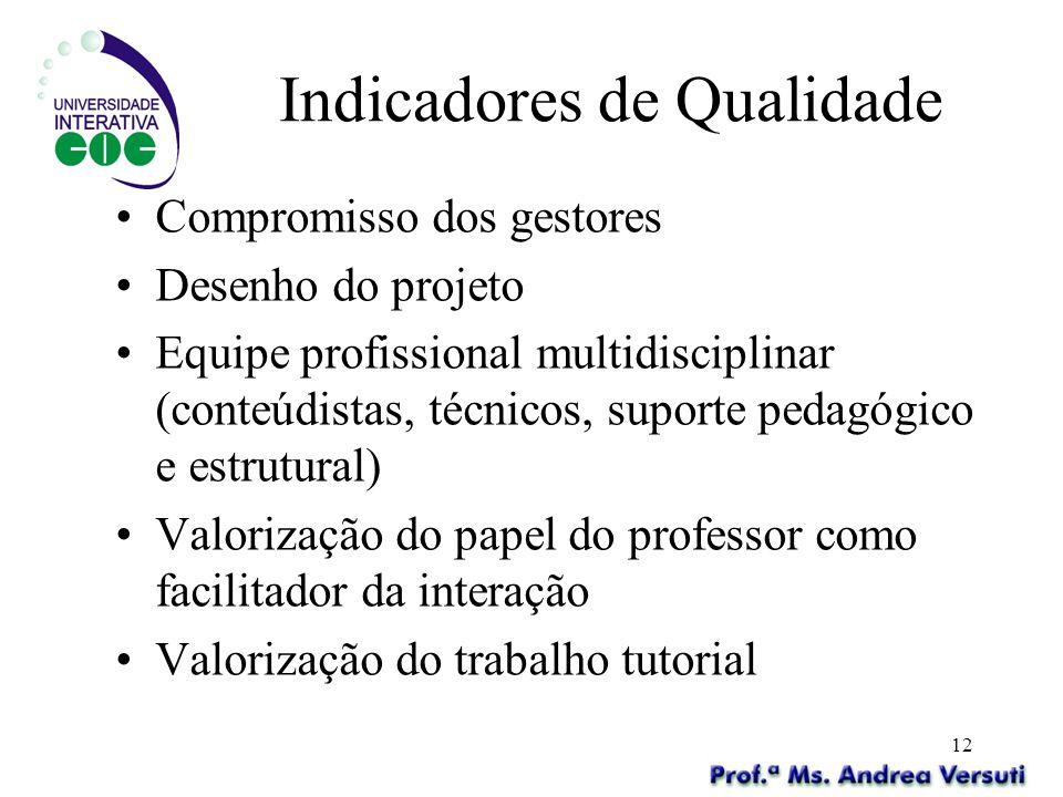 12 Indicadores de Qualidade Compromisso dos gestores Desenho do projeto Equipe profissional multidisciplinar (conteúdistas, técnicos, suporte pedagógi