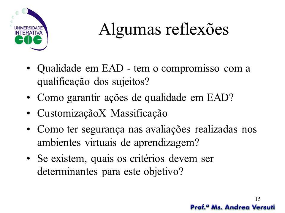 15 Algumas reflexões Qualidade em EAD - tem o compromisso com a qualificação dos sujeitos? Como garantir ações de qualidade em EAD? CustomizaçãoX Mass