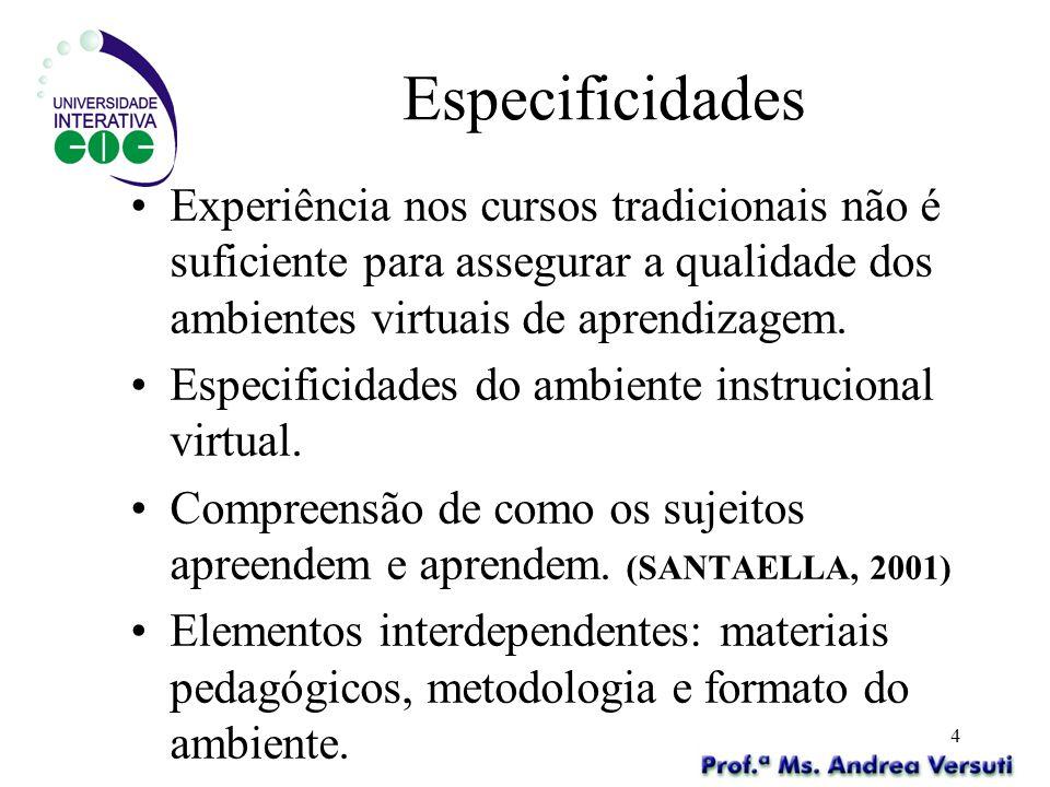 4 Especificidades Experiência nos cursos tradicionais não é suficiente para assegurar a qualidade dos ambientes virtuais de aprendizagem. Especificida