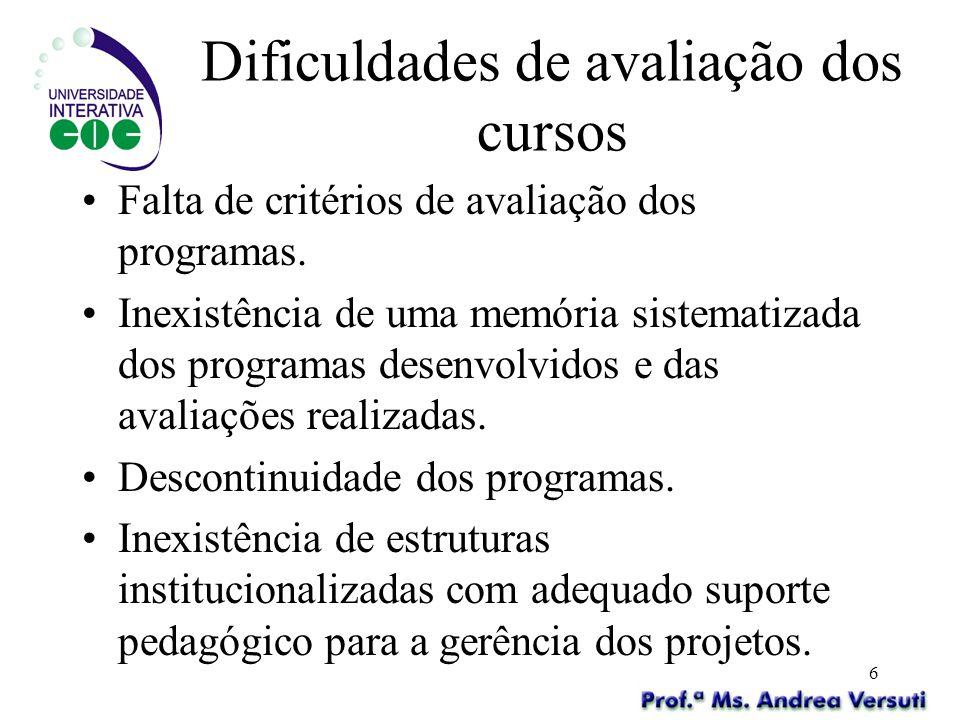 6 Dificuldades de avaliação dos cursos Falta de critérios de avaliação dos programas. Inexistência de uma memória sistematizada dos programas desenvol