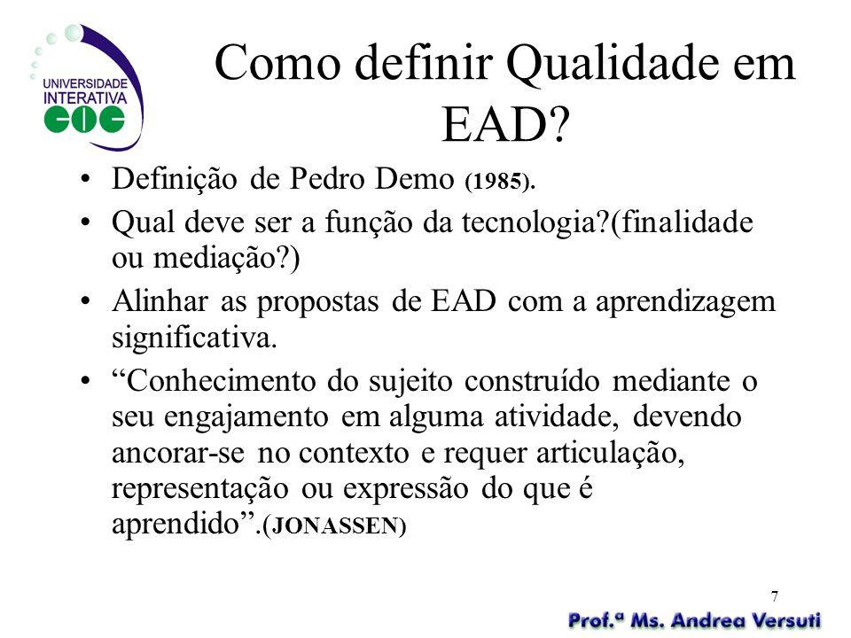 7 Como definir Qualidade em EAD? Definição de Pedro Demo (1985). Qual deve ser a função da tecnologia?(finalidade ou mediação?) Alinhar as propostas d