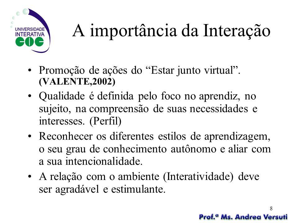 8 A importância da Interação Promoção de ações do Estar junto virtual. (VALENTE,2002) Qualidade é definida pelo foco no aprendiz, no sujeito, na compr