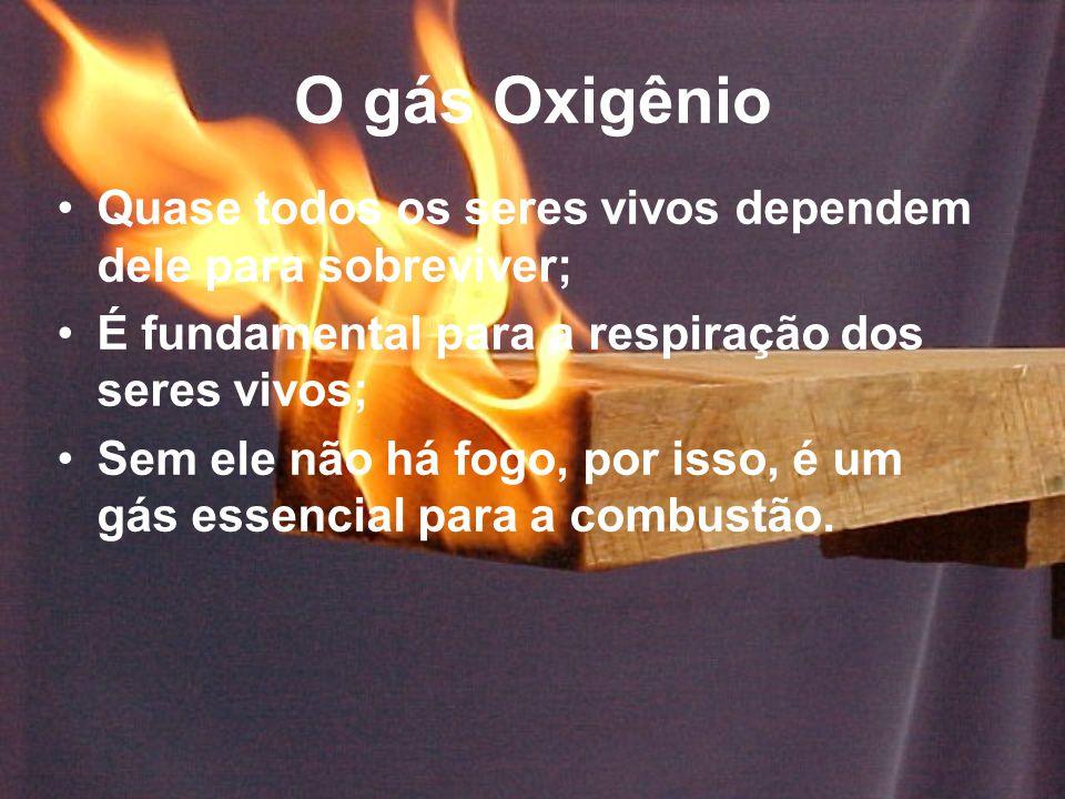 O gás Oxigênio Quase todos os seres vivos dependem dele para sobreviver; É fundamental para a respiração dos seres vivos; Sem ele não há fogo, por isso, é um gás essencial para a combustão.