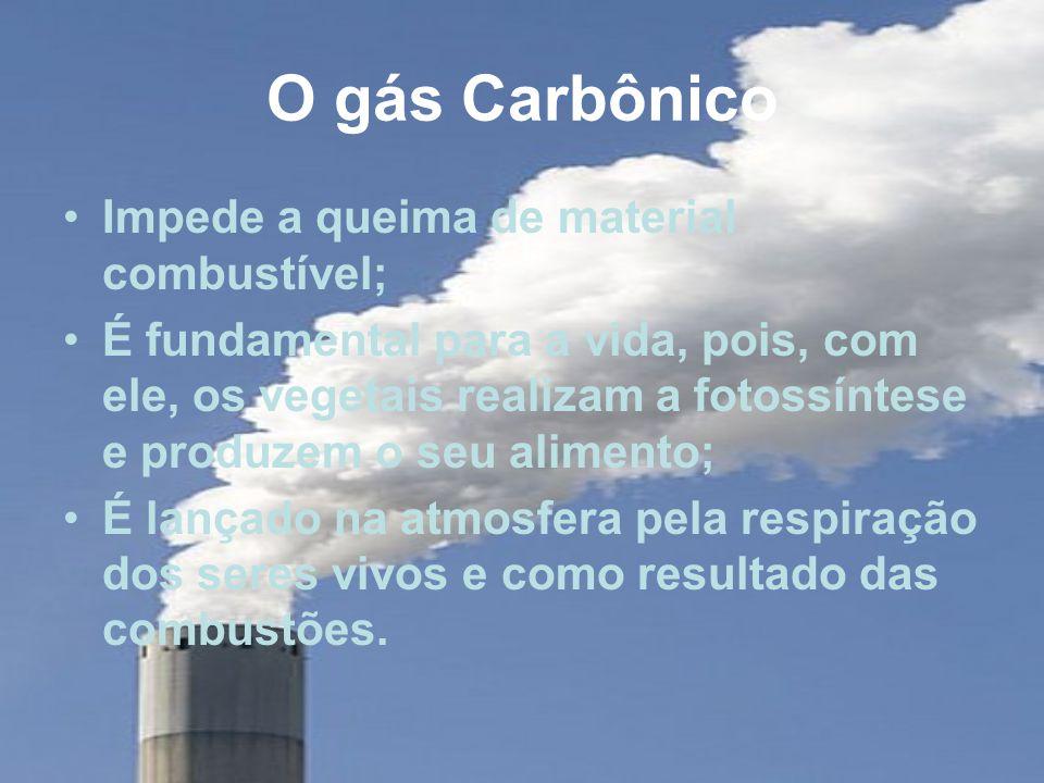O gás Carbônico Impede a queima de material combustível; É fundamental para a vida, pois, com ele, os vegetais realizam a fotossíntese e produzem o seu alimento; É lançado na atmosfera pela respiração dos seres vivos e como resultado das combustões.