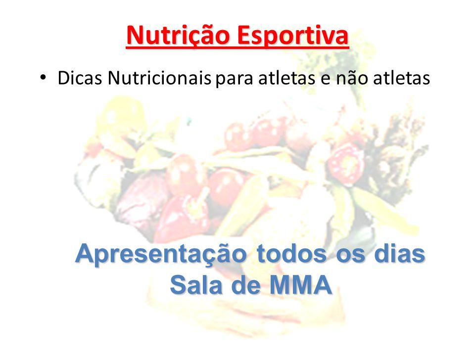 Nutrição Esportiva Dicas Nutricionais para atletas e não atletas Apresentação todos os dias Sala de MMA