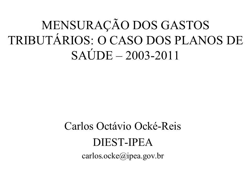 MENSURAÇÃO DOS GASTOS TRIBUTÁRIOS: O CASO DOS PLANOS DE SAÚDE – 2003-2011 Carlos Octávio Ocké-Reis DIEST-IPEA carlos.ocke@ipea.gov.br