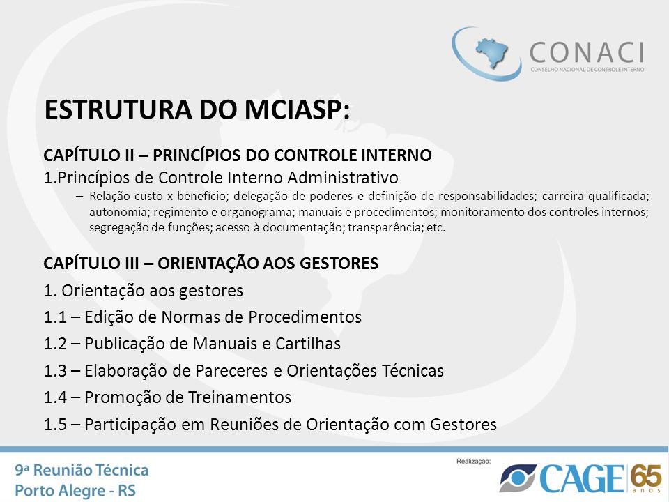 CAPÍTULO II – PRINCÍPIOS DO CONTROLE INTERNO 1.Princípios de Controle Interno Administrativo – Relação custo x benefício; delegação de poderes e defin