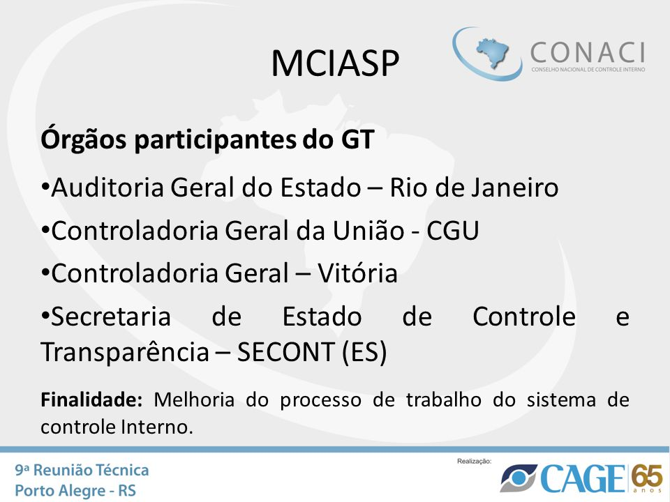 MCIASP Órgãos participantes do GT Auditoria Geral do Estado – Rio de Janeiro Controladoria Geral da União - CGU Controladoria Geral – Vitória Secretar