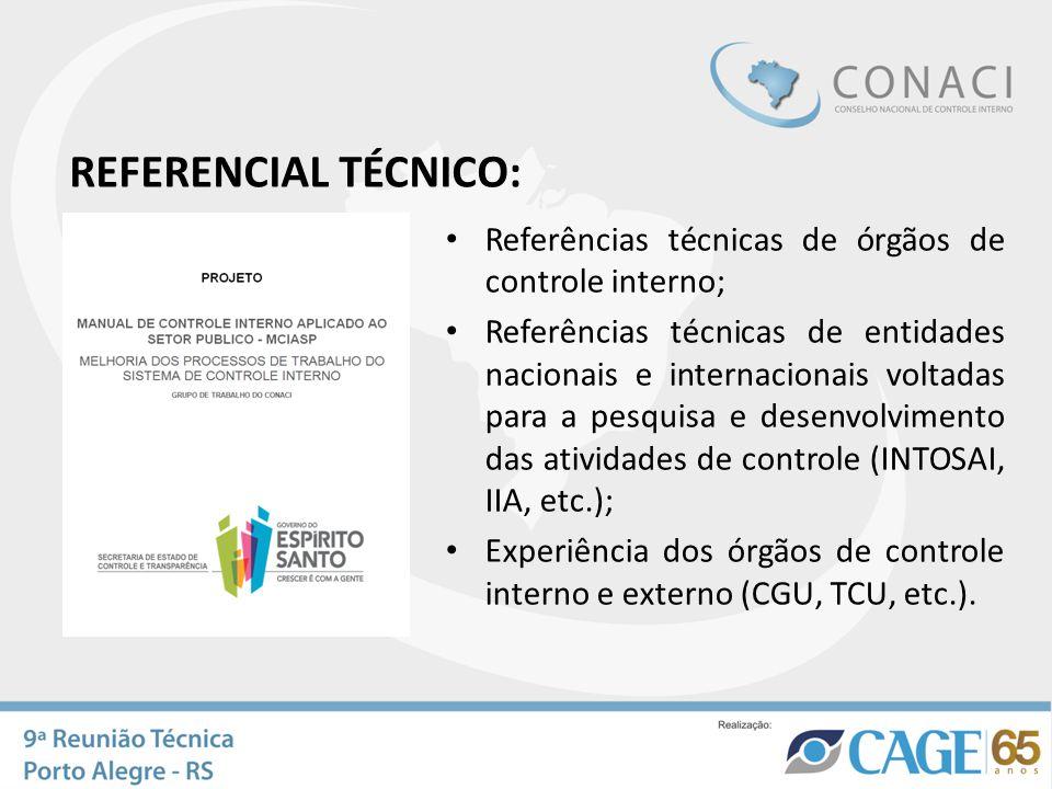 REFERENCIAL TÉCNICO: Referências técnicas de órgãos de controle interno; Referências técnicas de entidades nacionais e internacionais voltadas para a