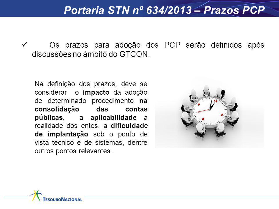 Portaria STN nº 634/2013 – Prazos PCP Os prazos para adoção dos PCP serão definidos após discussões no âmbito do GTCON. Na definição dos prazos, deve