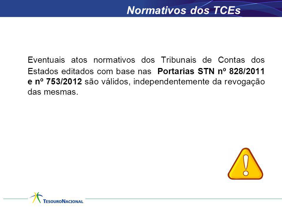 Normativos dos TCEs Eventuais atos normativos dos Tribunais de Contas dos Estados editados com base nas Portarias STN nº 828/2011 e nº 753/2012 são vá