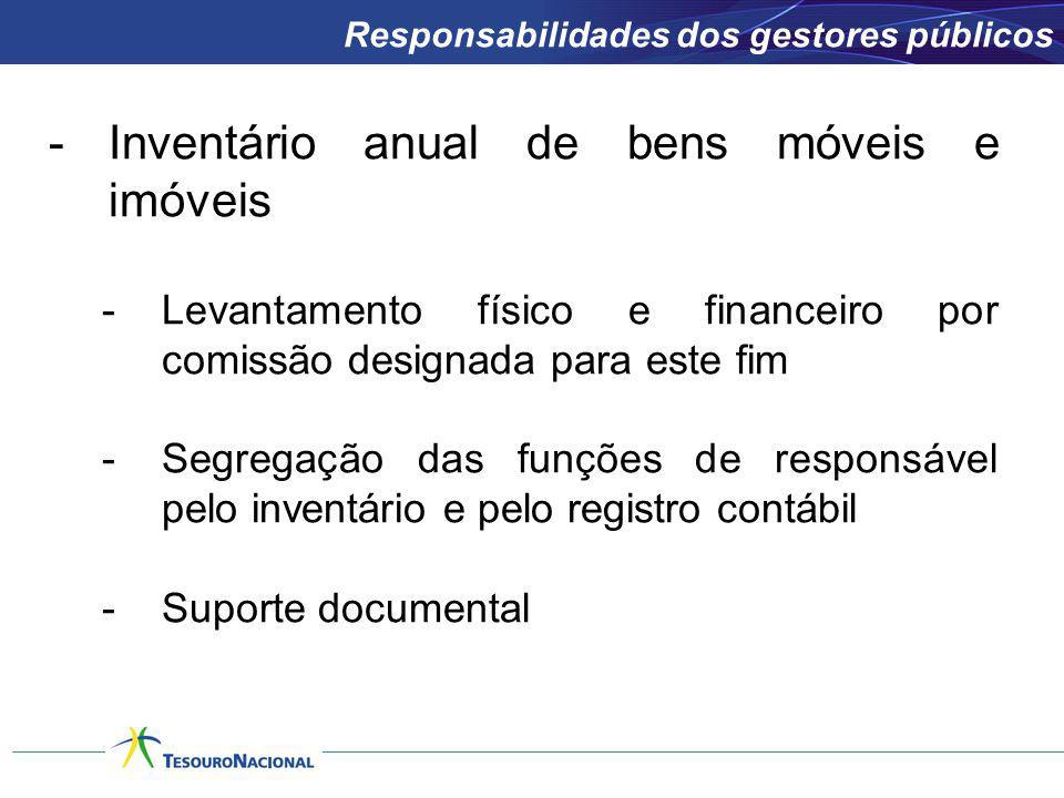 -Inventário anual de bens móveis e imóveis -Levantamento físico e financeiro por comissão designada para este fim -Segregação das funções de responsáv