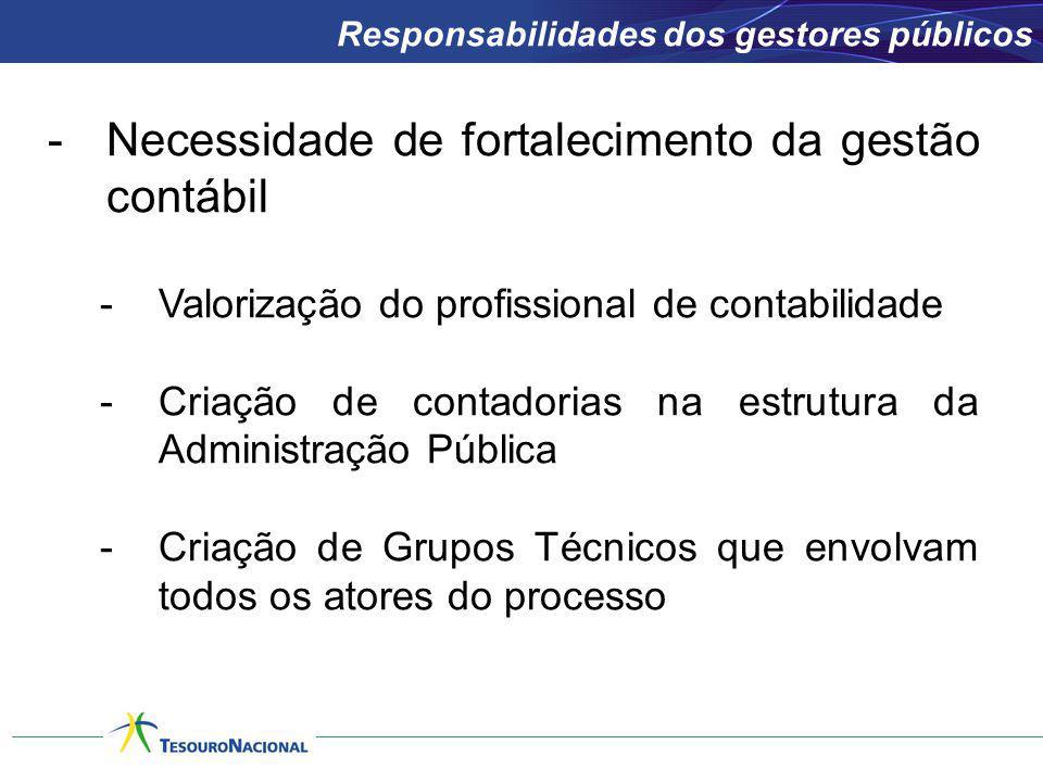 -Necessidade de fortalecimento da gestão contábil -Valorização do profissional de contabilidade -Criação de contadorias na estrutura da Administração