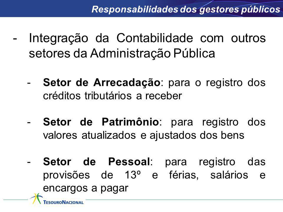 -Integração da Contabilidade com outros setores da Administração Pública -Setor de Arrecadação: para o registro dos créditos tributários a receber -Se