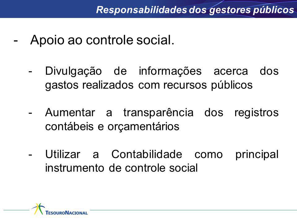 -Apoio ao controle social. -Divulgação de informações acerca dos gastos realizados com recursos públicos -Aumentar a transparência dos registros contá