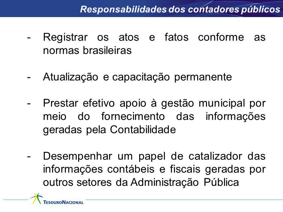 -Registrar os atos e fatos conforme as normas brasileiras -Atualização e capacitação permanente -Prestar efetivo apoio à gestão municipal por meio do