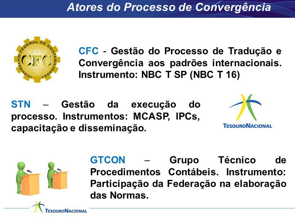 CFC - Gestão do Processo de Tradução e Convergência aos padrões internacionais. Instrumento: NBC T SP (NBC T 16) STN – Gestão da execução do processo.