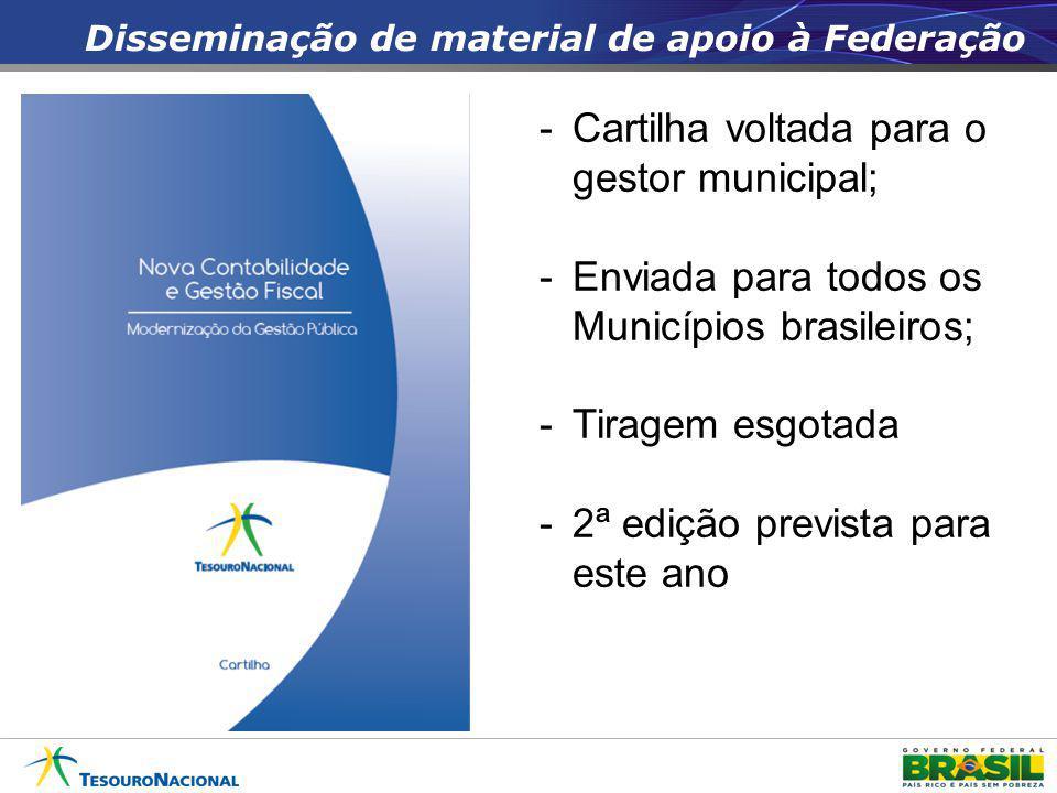 Disseminação de material de apoio à Federação -Cartilha voltada para o gestor municipal; -Enviada para todos os Municípios brasileiros; -Tiragem esgot