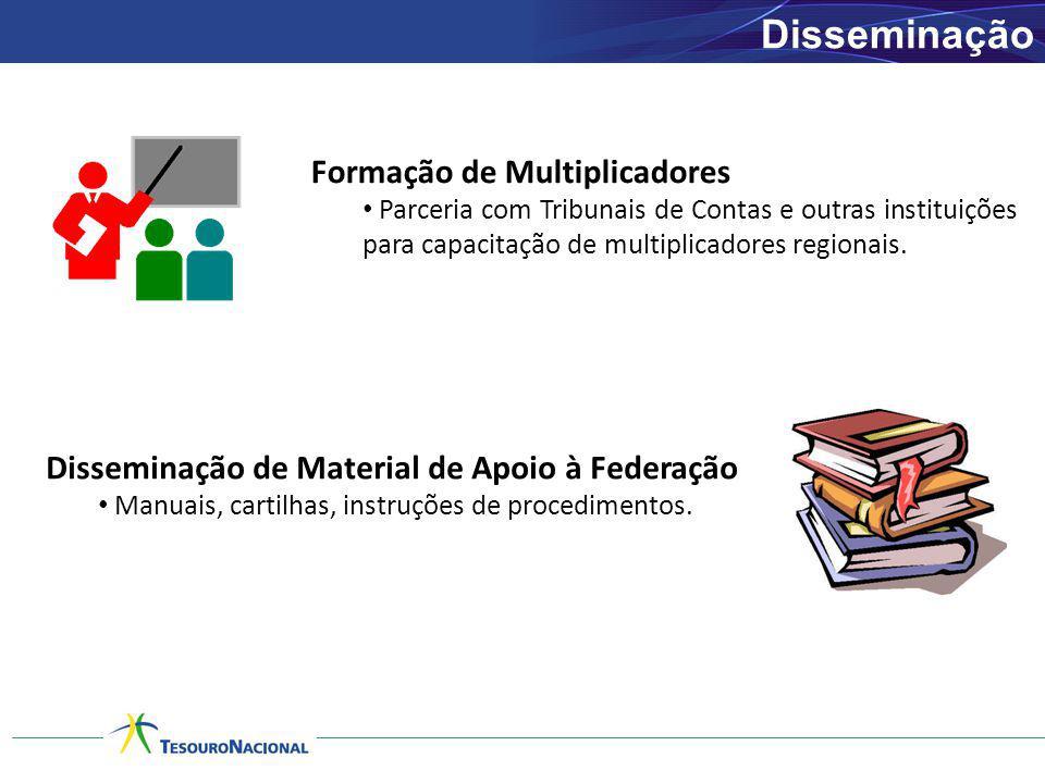 Disseminação Formação de Multiplicadores Parceria com Tribunais de Contas e outras instituições para capacitação de multiplicadores regionais. Dissemi