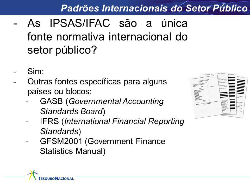 -As IPSAS/IFAC são a única fonte normativa internacional do setor público? -Sim; -Outras fontes específicas para alguns países ou blocos: -GASB (Gover